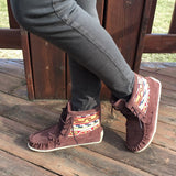 Women's Chocolate Suede Mohican w Native Indian Tapestry Moccasin Boots - 3870109 (SIZE 6 ONLY)