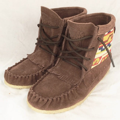 Women's Chocolate Suede Mohican w Native Indian Tapestry Moccasin Boots - 3870109