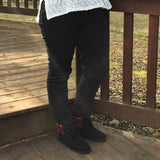 Black Suede Boots with red/black print