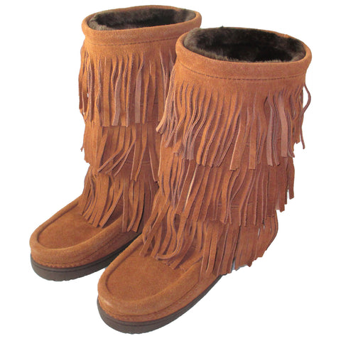 Women's Buffalo Dancer Fringed Mukluks (Size 5 ONLY)