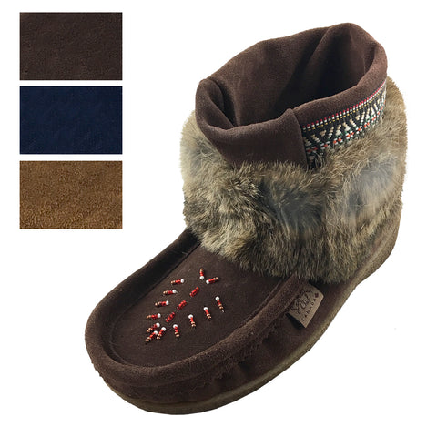 Women's Clearance Ankle Rabbit Fur Ankle Mukluks 551185