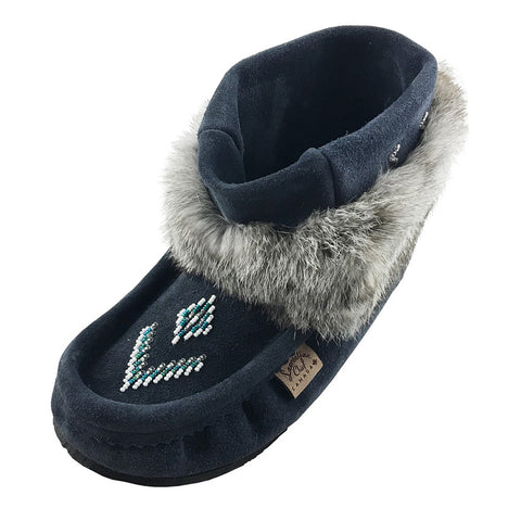 Women's Navy Ankle Rabbit Fur Nuka Mukluks 556537NBL