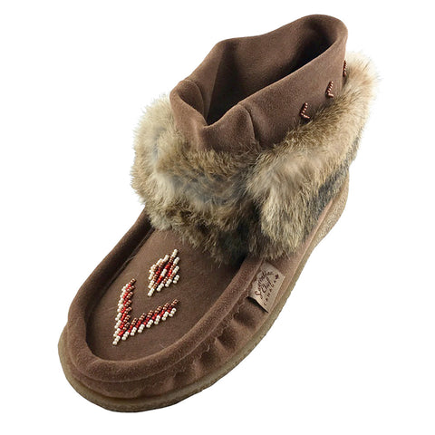 Women's Tobacco Ankle Rabbit Fur Short Mukluks 556585TOL