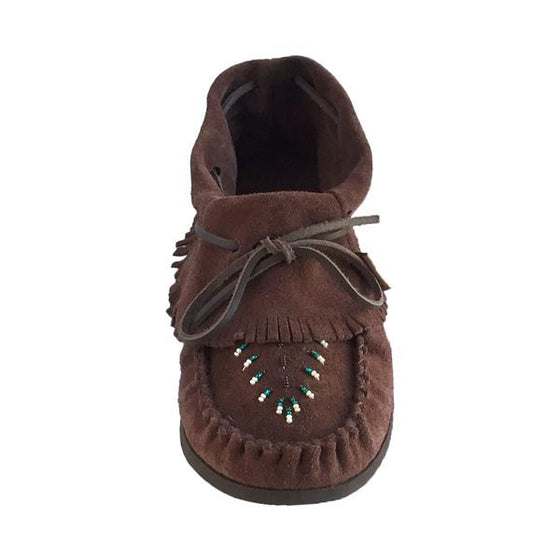 Women's Clearance Brown Suede Fringed Beaded Moccasins (Size 5, 6 & 8 ONLY)
