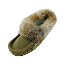 Men's Fleece Lined Green Suede Moccasins With Rabbit Fur 600ARM
