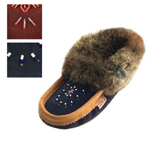 Women's Fleece Lined Rabbit Fur Suede Moccasins