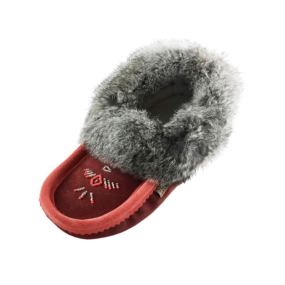Women's Fleece Lined Suede Moccasins With Rabbit Fur 600L