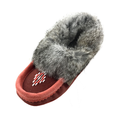 Junior Two-Tone Suede Fleece Lined Beaded Moccasins With Rabbit Fur 600RUCO