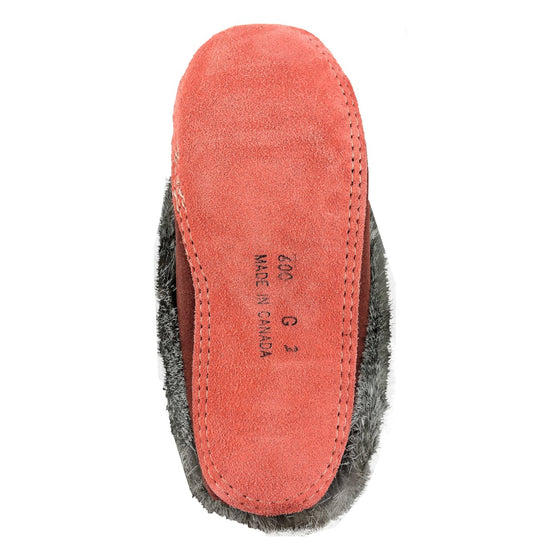 Junior Two-Tone Suede Fleece Lined Beaded Moccasins With Rabbit Fur 600RUCOJ