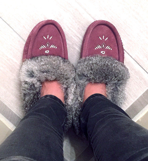 Women's Fleece Lined Rabbit Fur Plum Suede Moccasins