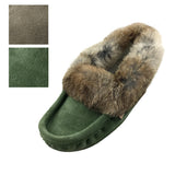 Men's Fleece Lined Suede Moccasins With Rabbit Fur 669M (SIZE 12 ONLY)