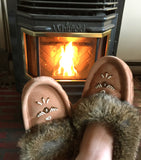 Women's Fleece Lined Moka Suede Moccasins With Rabbit Fur 677