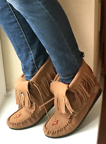 56c4cc491db40 Women's Moka Suede Fringed Moccasin Boots 702093