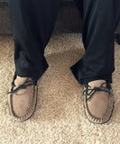 Men's Soft Sole Gray Suede Moccasins with Leather Trim 78C-BK