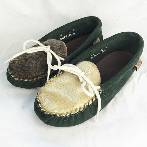 Women's Suede Moccasins with Sealskin Vamp 82FOL