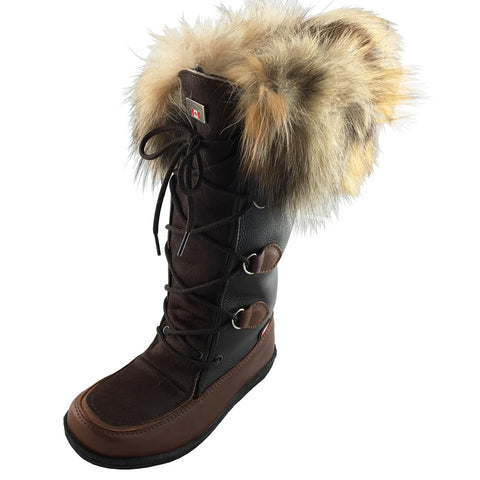 "Women's 13½"" Brown Mukluks with Fox Fur Collar 8B18-01"