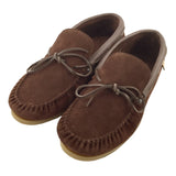 Men's Rubber Sole Brown Suede Moccasin Shoes - 9016