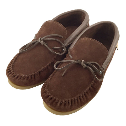 Men's Rubber Sole Brown Suede Moccasin Shoes - 9016 SIZE 8 AND 12