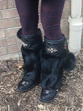 Women's Knee High Black Rabbit Fur Mukluks 981447