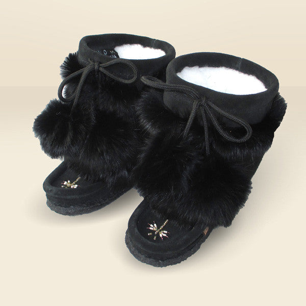 "Children's 8"" Black Mukluks with Rabbit Fur Trim 982447BL"