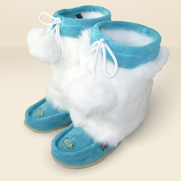 "Children's 8"" Canadian Mukluks with Rabbit Fur Trim 982447TU"