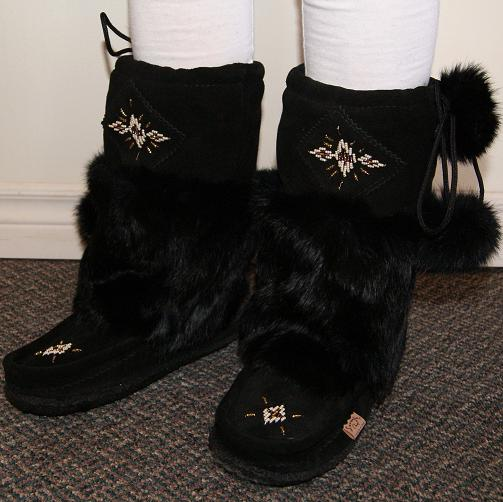 Women S Mid Calf 12 Quot Tall Black Rabbit Fur Lined Mukluk