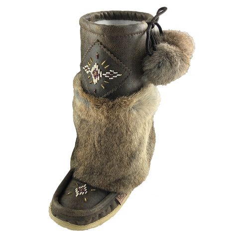 Women's Mid Calf Old Brown Rabbit Fur Mukluks 986485