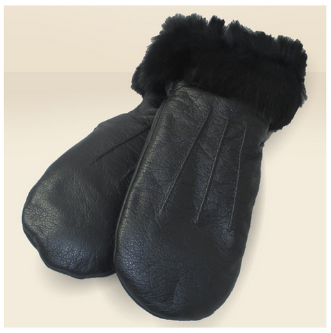 Women's Leather Mittens with Rabbit Fur Trim K-226
