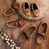Women's Maple Leaf Soft Sole Dark Tan Suede Moccasins