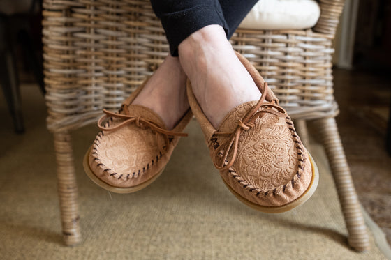 Women's Crepe Sole Floral Embossed Suede Moccasins
