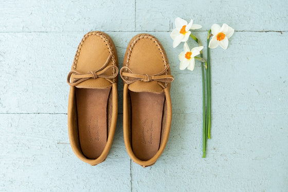 Women's Crepe Sole Moosehide Leather Moccasins