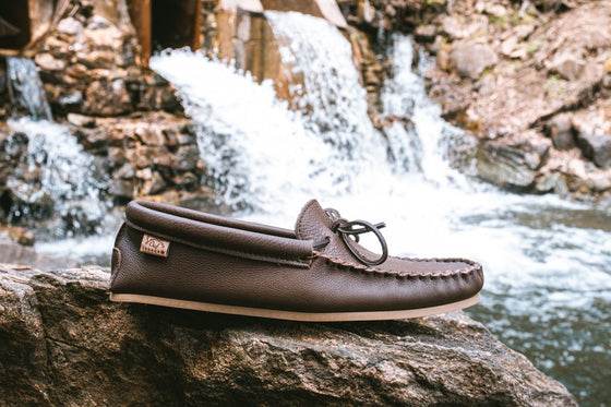 Men's Rubber Sole Rocky Oil Tan Leather Moccasins