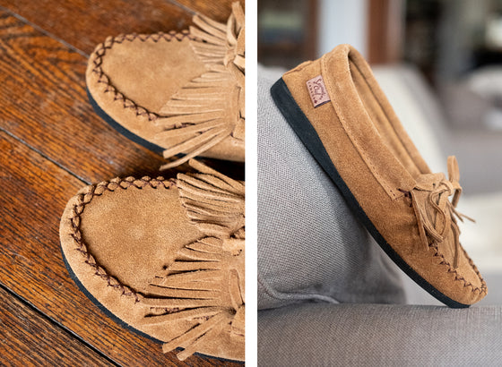 Women's Fringed Rubber Sole Gray Suede Moccasins