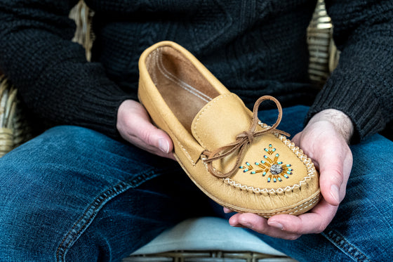 Men's Soft Sole Moose Hide Leather Beaded Moccasins
