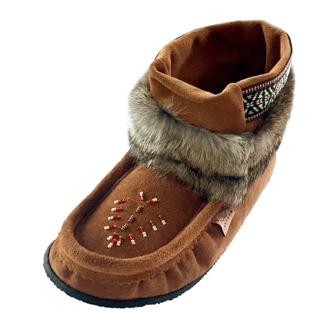 Women's Dark Tan Ankle Rabbit Fur Mukluks 551137DK