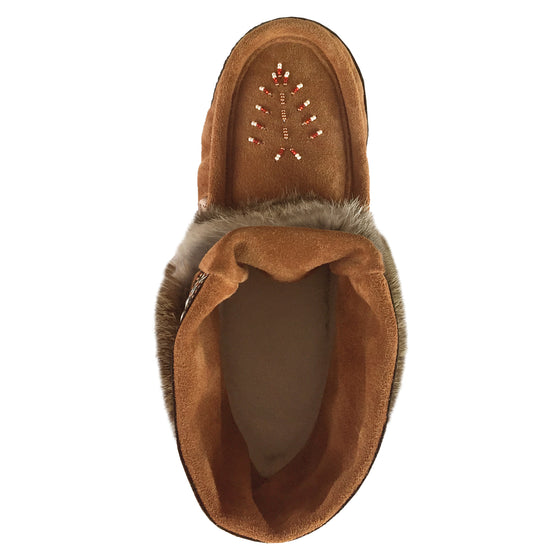 Women's Dark Tan Ankle Rabbit Fur Mukluks