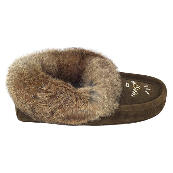 Women's Fleece Lined Army Suede Rabbit Fur Moccasins