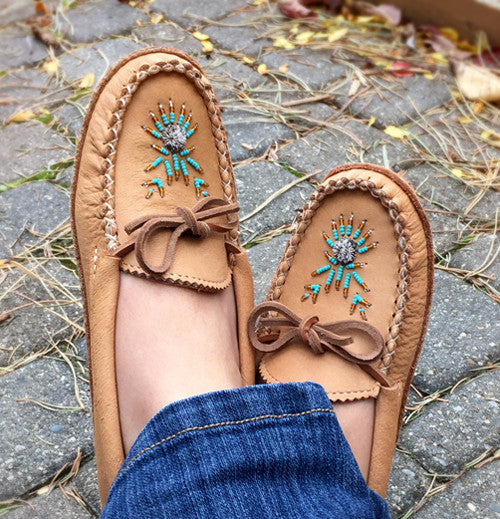 Women's Soft Sole Maple Moosehide Leather Moccasins