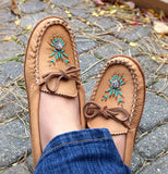 Women's Soft Sole Maple Moosehide Leather Moccasins B4890