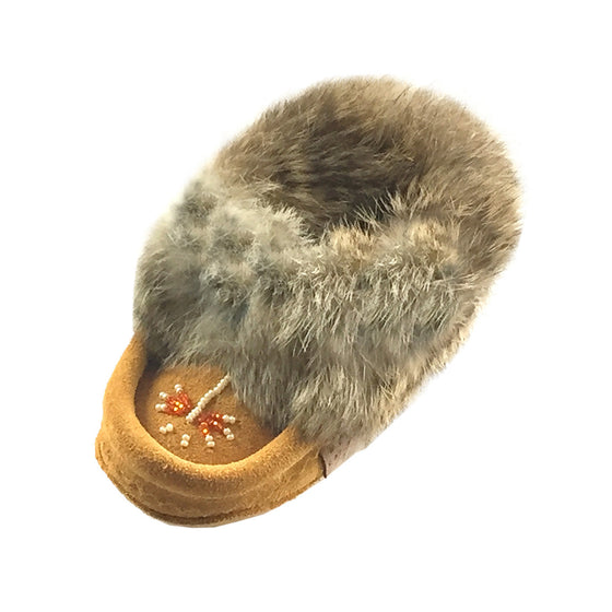 Baby & Child Suede Fleece Lined Beaded Moccasins With Rabbit Fur 648C