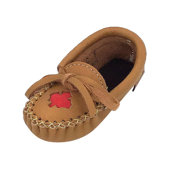 Baby & Child Maple Leaf Moose Hide Leather Moccasins