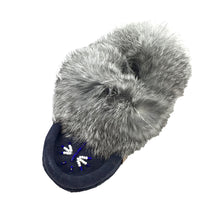 Junior Soft-Sole Navy Suede Moccasins with Rabbit Fur - 658J