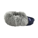 Baby Soft-Sole Navy Suede Moccasins with Rabbit Fur - 658C