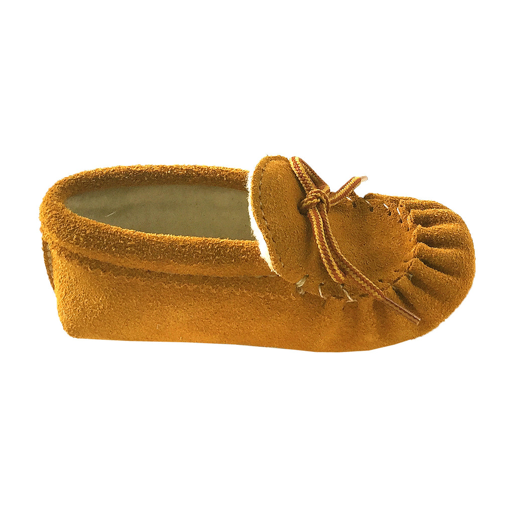 Junior Soft Sole Suede Moccasin Slippers With Real Rabbit