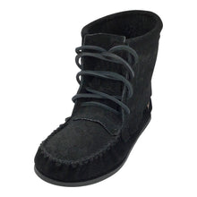 Women's Clearance Black Floral Embossed Suede Moccasin Boots (Size 9 & 10 ONLY)