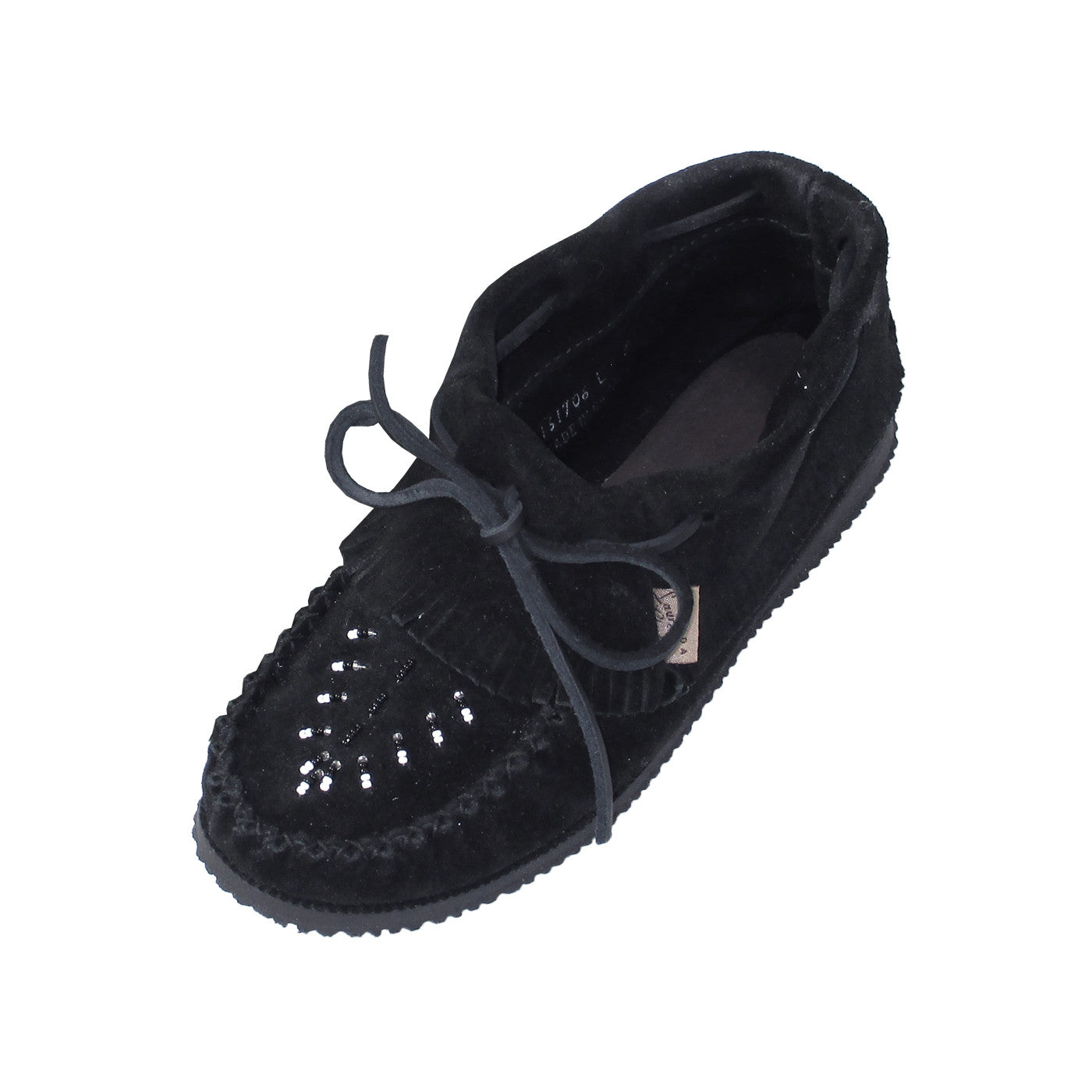 bf9ca219447 Women s Rubber Sole Black Suede Moccasins with Fringe – Leather ...