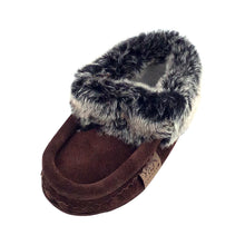 Children's Faux Fur Trim Brown Suede Moccasins
