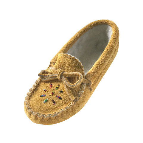 ec8c2bf293a Children s Moosehide Suede Fleece Lined Beaded Moccasins 402-C