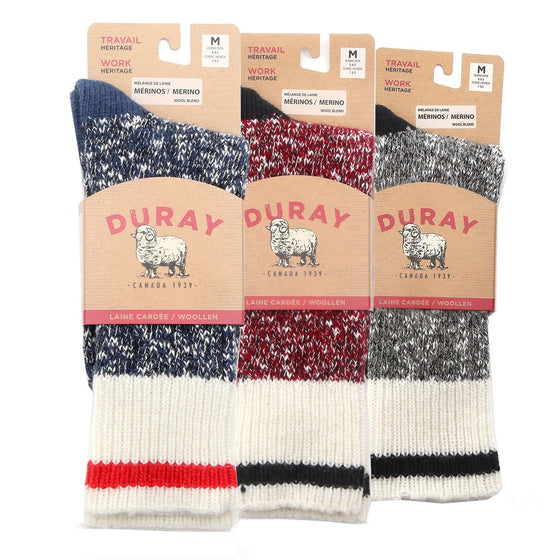 Heavy Crew Wool Work Boot Socks for Men 3 Pack (Size Large ONLY)
