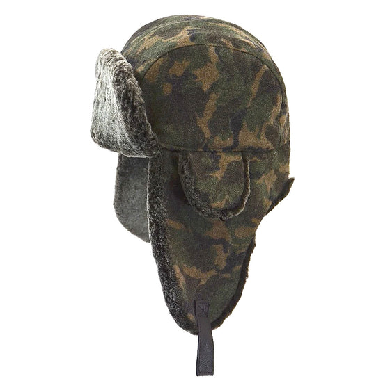 Shearling Aviator Hat with Camo